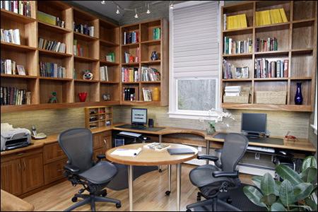 kütüphaneli-çalışma-masası