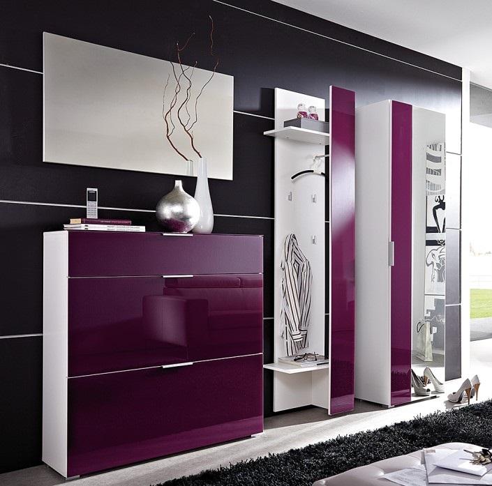 Mor-beyaz-renkli-çekmeceli-modern-vestiyer-modeli