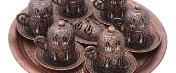 40 Yıllık Hatır El yapımı Bakır Kahve Setleri
