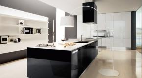 Parlak Siyah Beyaz Mutfak Dolapları Modelleri